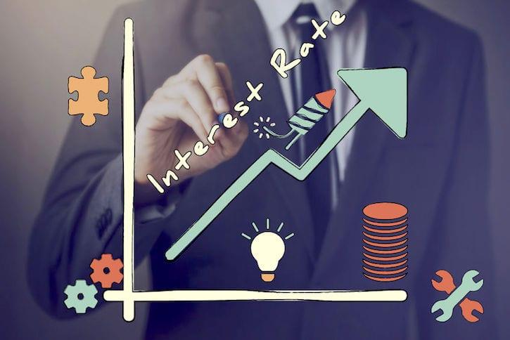 60101273 - businessman drawing increasing diagram of interest rate