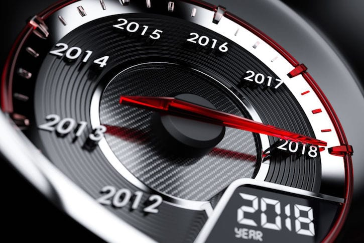 81560554 - 3d illustration of 2018 year car speedometer. countdown concept