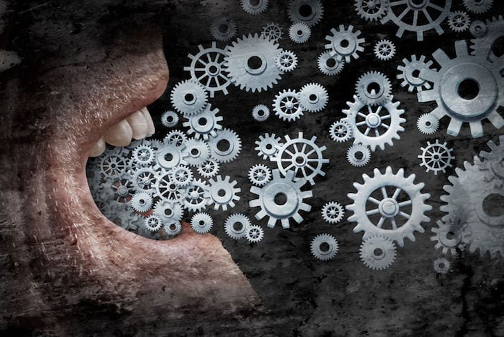 33691710 - business communication and marketing success concept as an open  human mouth  spreading a message with social media with the metaphor of gears and cogs as a networking technology distribution symbol with a grunge texture.